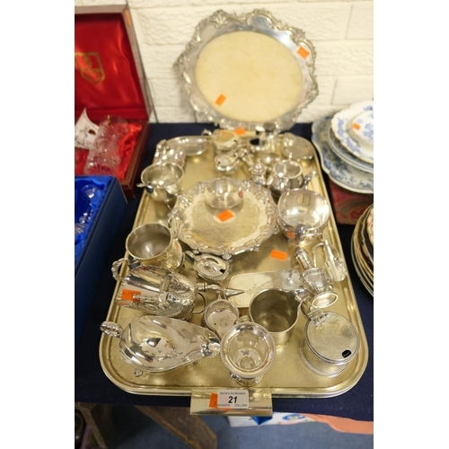 21 - Assorted Victorian and later silver plated wares including crumb scoop, cheese scoop, card tray etc;...