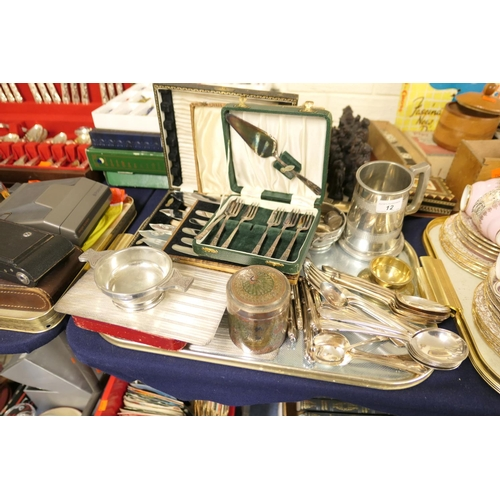 12 - Mixed silver plated wares including Indian damascened canister, loose and cased cutlery etc...