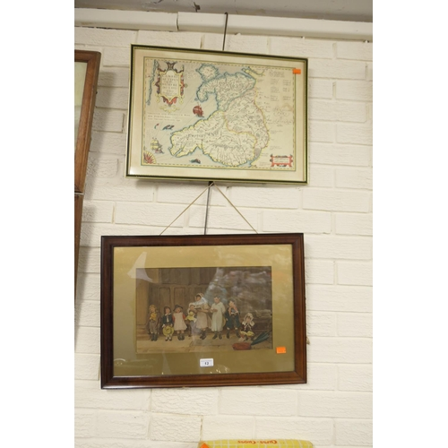 13 - Framed print, 'Young choristers' and a printed map of Wales (2)...