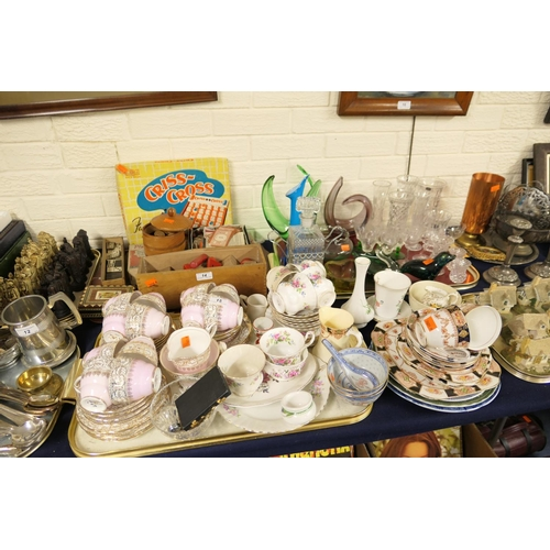 15 - Mixed china tea wares and mixed glassware including Wedgwood seal (2 trays)...