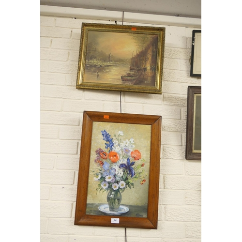 16 - Oak framed still life oil painting dated 1938; also framed oil painting of moored boats (2)...