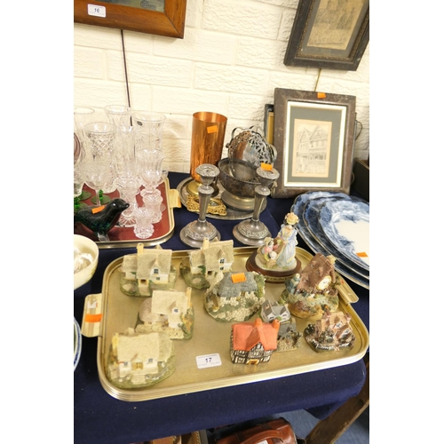 17 - Model cottages, small amount of silver plated ware including candlesticks...