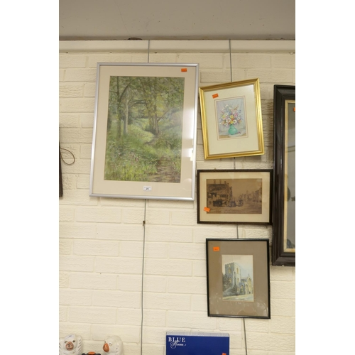 25 - D Simms, 'Wooded glade', signed pastel drawing, framed print of old Chester, two further pictures (4...