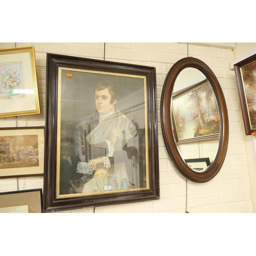28 - Victorian chromo-lithographic print, 'Robbie Burns' and a George V mahogany oval wall mirror (2)...