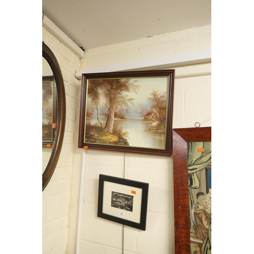 30 - Meryl Watts mounted postcard; also a framed oil painting (2)...