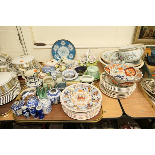 35 - Mixed Victorian and later ceramics including part toilet set, Japanese Imari bowl, Wedgwood calendar...