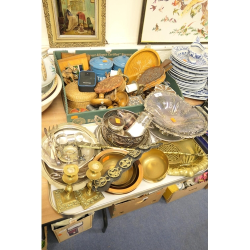 37 - Miscellaneous collectables including blue enamelled storage jars,