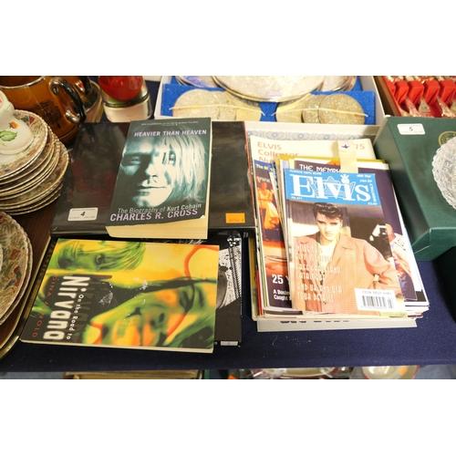 4 - Music books and ephemera including Kurt Cobain and Elvis magazines...