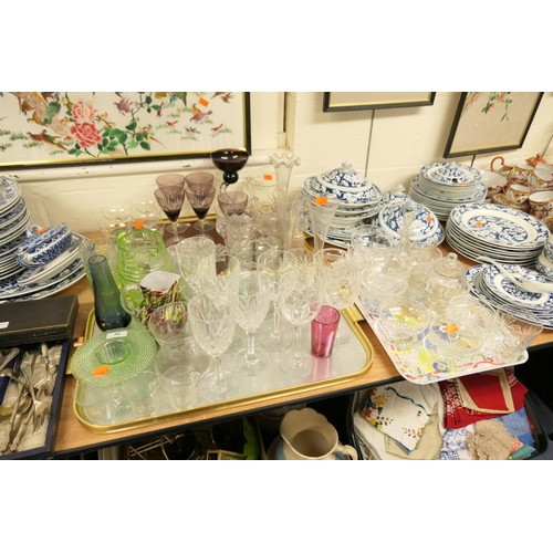 40 - Mixed Victorian and later glassware (3 trays)...
