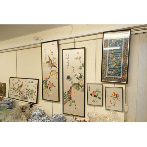 41 - Number of modern Chinese silk embroidered panels (6)...