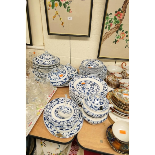 42 - Booths Plum Blossom blue and white printed dinner service...