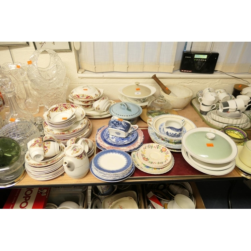 45 - Large pestle and mortar, mixed ceramics including Staffordshire dinner wares...