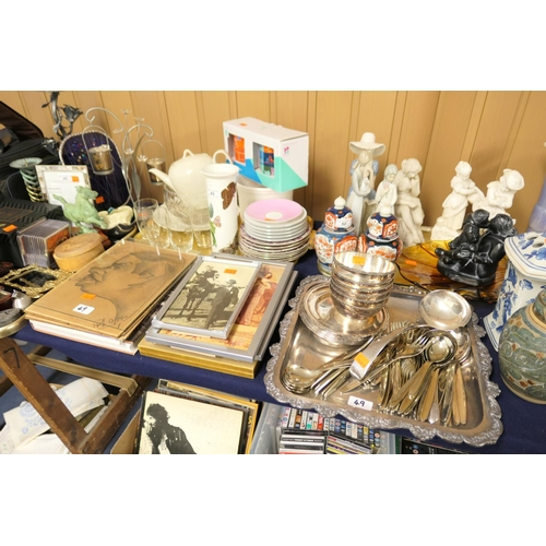 49 - Mixed silver plated and stainless steel ware, photographs, mixed china, glass etc...