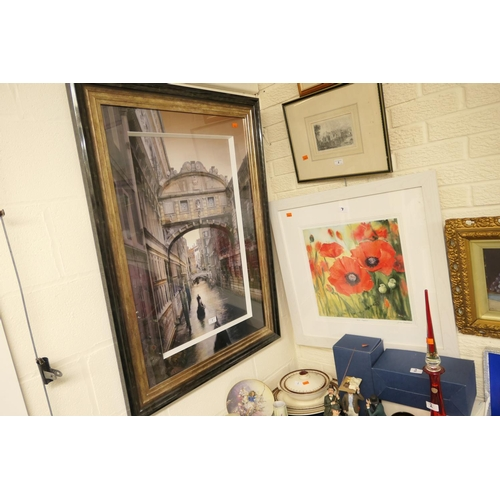 7 - Judi Trevorron, 'Red poppies', signed, coloured print; also framed coloured print of the Bridge of S...
