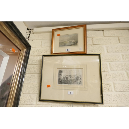 8 - George Cuitt engraving, 'View of Chester'; also further framed coloured print, 'The new bridge, Ches...
