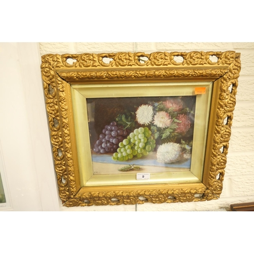 9 - Victorian gilt framed still life oil painting, 'Grapes and chrysanthemums'...