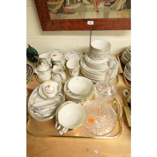 31 - Royal Doulton Curzon pattern china tea and dinner service; also two cut glass decanters (2 trays)...