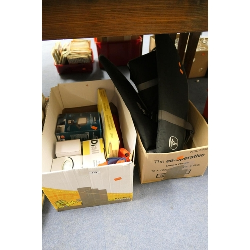 134 - Household items including some plated cutlery, nylon gun slips (2 boxes)...