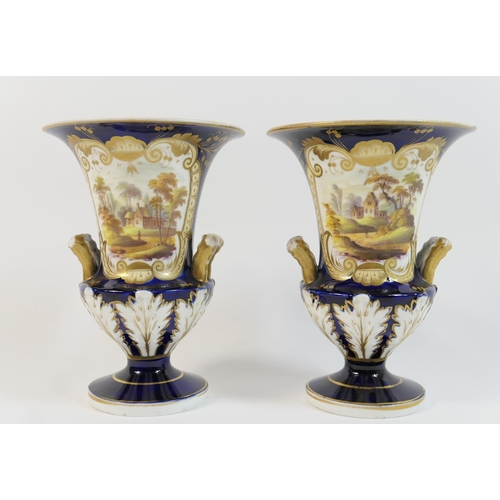 16 - Pair of Victorian china vases, circa 1845, of slender campagna form, decorated with a landscape vign...