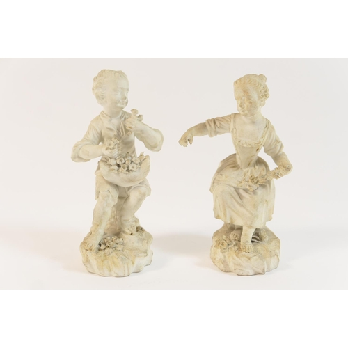 17 - Pair of Derby bisque figures of young gardeners, circa 1790, incised 'No.36' height 14cm...