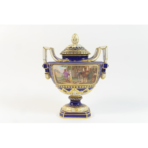 18 - Sevres soft paste pot pourri vase and cover, flattened urn form with double handles and pierced cove...