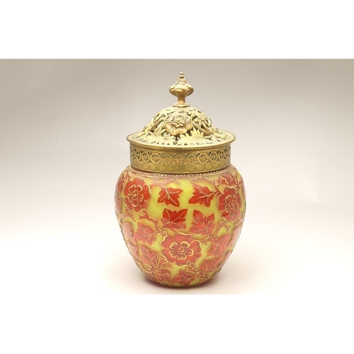 20 - French cameo glass pot pourri vase, circa 1900, shouldered ovoid form with a cast brass pierced cove...