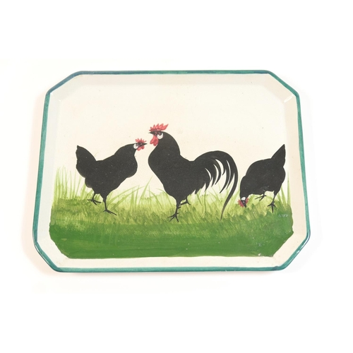 32 - Wemyss Pottery tray, decorated with black hens, printed and impressed marks 'Wemyss Ware RH&R', 25.5...