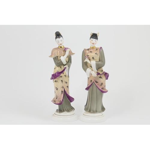 37 - Pair of Royal Worcester china models of Geishas, by Agnes Pinder Davis, model no. 3420, circa 1959, ...