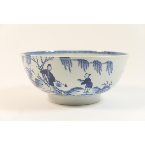 39 - Chinese blue and white bowl, late 18th Century, decorated with the fisherman and boy pattern, the in...