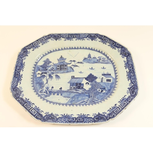 40 - Chinese blue and white export meat plate, late 18th Century, decorated with a pagoda river landscape...
