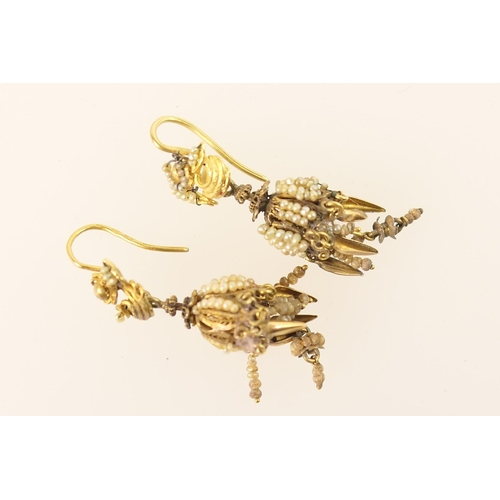 407 - Pair of Italian or Maltese seed and filigree pendant earrings, 19th Century, worked as bunches of gr...