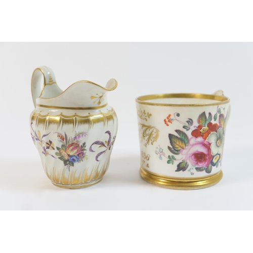 42 - Coalport christening tankard, dated 1836, decorated with polychrome floral sprays bordered with gilt...