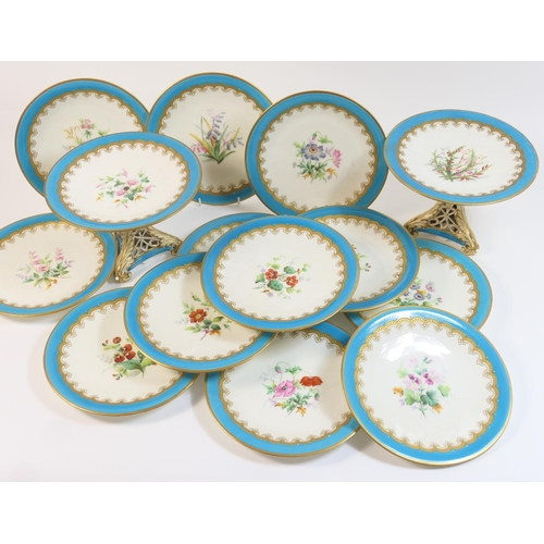 43 - Victorian china dessert service, circa 1870, comprising two tall comports and twelve dessert plates,...