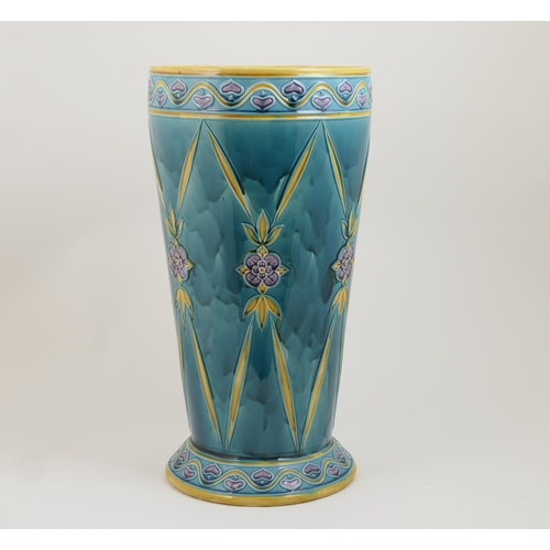 48 - Minton Secessionist majolica stick stand, date code for 1914, tapered cylinder form decorated with s...