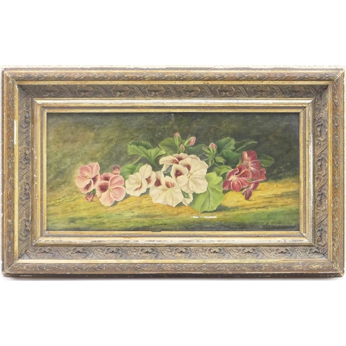533 - F Villanueve (French late 19th Century), Floral still life study, signed oil on canvas, 19cm x 39cm...