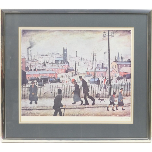 534 - Laurence Stephen Lowry (1887-1976), View of a town, offset lithograph in colours, signed by the arti...