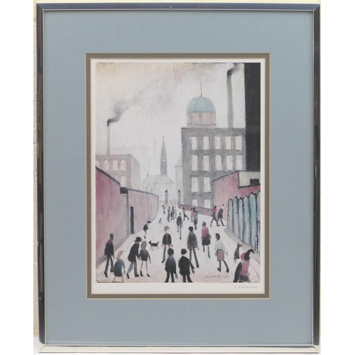 535 - Laurence Stephen Lowry (1887-1976), Industrial scene, offset lithograph in colours, signed by the ar...