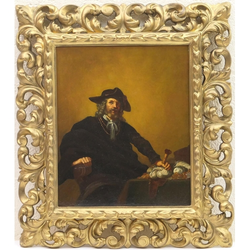 550 - Flemish School (18th or 19th Century), The rent collector, oil on canvas, 35cm x 29cm...