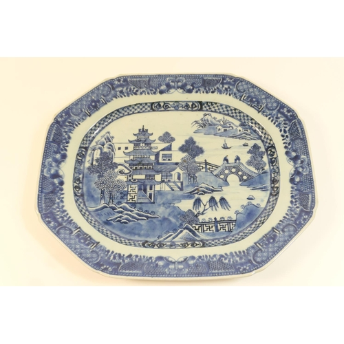 8 - Chinese blue and white export meat plate, late 18th or early 19th Century, decorated with a pagoda l...