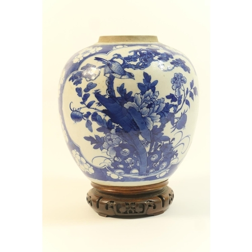 7 - Chinese blue and white ginger jar, 18th or 19th Century, decorated with panels of birds amidst peony...