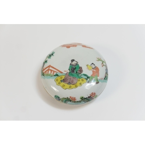 11 - Chinese porcelain box and cover, late 19th Century, shallow form decorated in famille verte colours ...