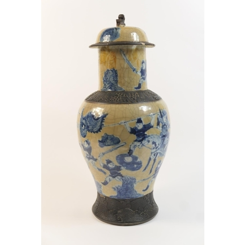 13 - Chinese crackle ground lidded baluster vase, circa 1900, decorated in underglaze blue with warriors ...