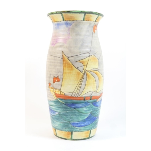 31 - Crown Devon Fieldings yacht and lighthouse patterned vase, ovoid form with slightly everted rim, dec...