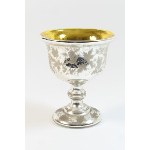 34 - Victorian mercury glass goblet, circa 1850, having a gilded interior, the exterior etched with birds...
