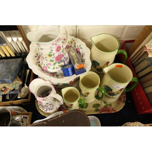 11 - Decorative ceramics including set of graduated cockerel jugs, James Kent chamber pot etc...