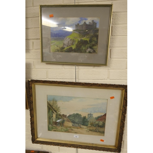 12 - Framed watercolour, 'Tranquil village scene'; also a framed pastel drawing of a castle landscape (2)...