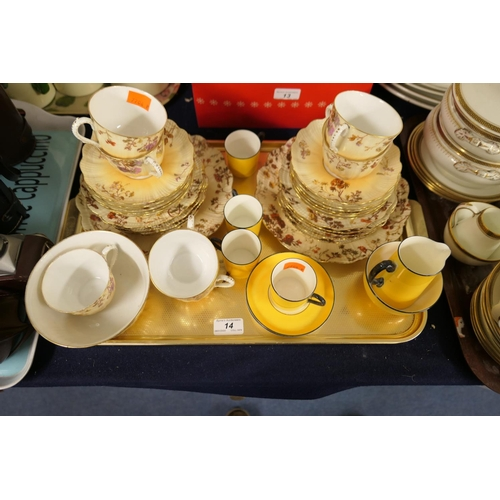 14 - French Limoges porcelain tea service; also Hammersley yellow glazed coffee wares...
