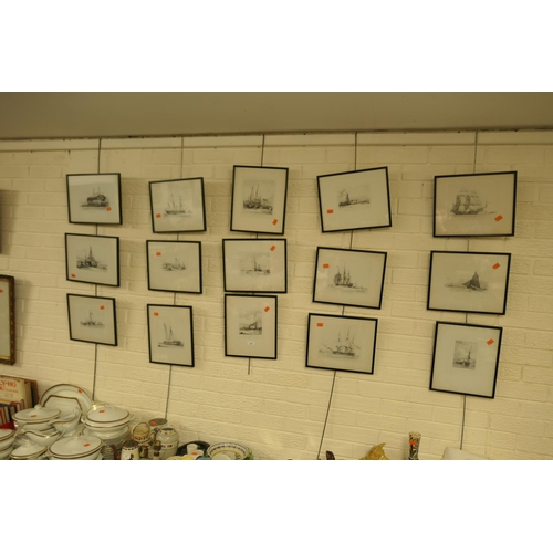 16 - Fifteen framed maritime prints...