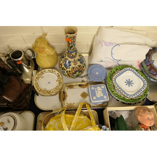 20 - Decorative ceramics including Noritake sandwich plates, Torquay ware bottle vase, Wedgwood jasper wa...
