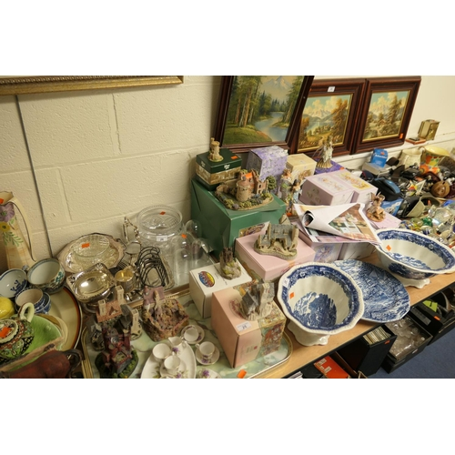 25 - Small collection of cottage ornaments and Faerie Poppets, many with boxes, and a child's china tea s...